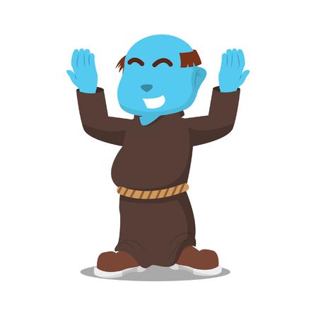 Blue monk doing worship stock illustration.