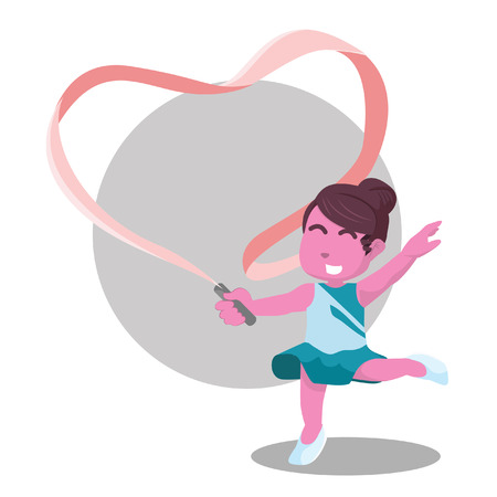 Pink ribbon dancer making heart shaped with her ribbons– stock illustration