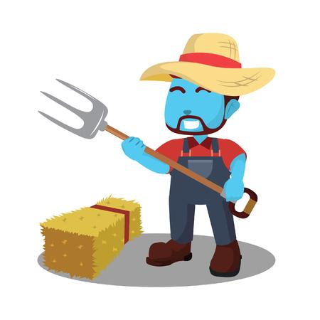 Blue farmer with pitchfork– stock illustration