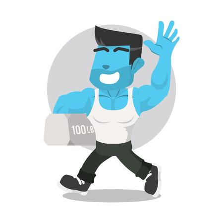 Gehende tragende Gewichtsvorratillustration des blauen Bodybuilders. Standard-Bild - 93377778