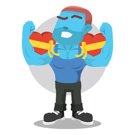 Blue body builder holding valentine chocolate– stock illustration