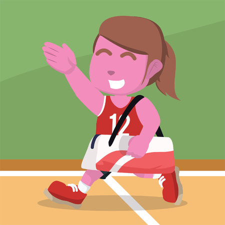 Pink female basketball player carry a bag– stock illustration Stock Vector - 92930486