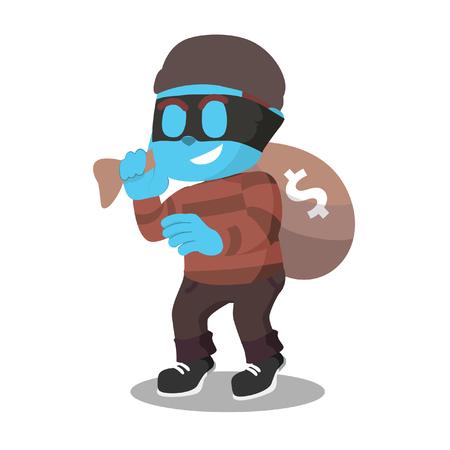 Blue thief with money sack– stock illustration Illustration