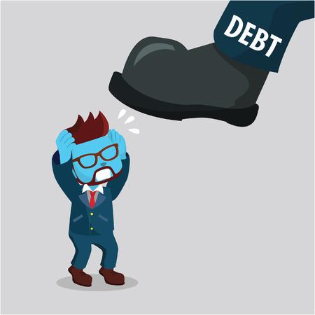 blue African businessman are afraid of big foot debt– stock illustration Çizim