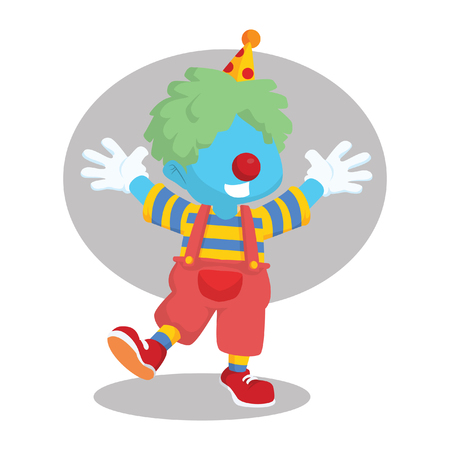 Blue boy dressed as clown– stock illustration