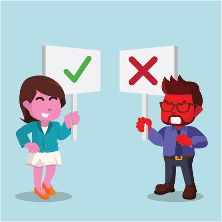 赤いビジネスマンとピンクのビジネスウーマンが反対のサインを持っているストックイラスト