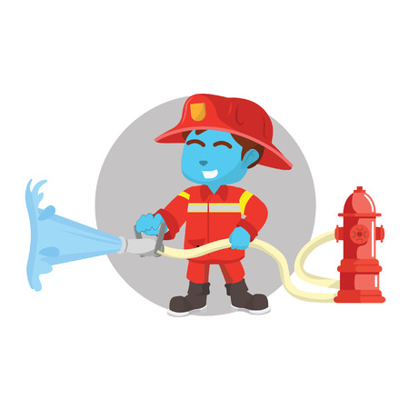 Blue firefighter using fire hydrant– stock illustration Illustration
