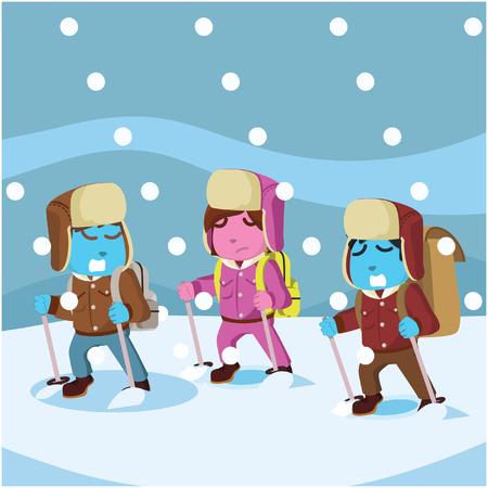 Groep van arctische exploler geconfronteerd met sneeuw stormà ¢ â?¬â ? ? stock illustratie