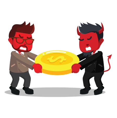 Two red colored businessman fighting for money stock illustration Ilustração