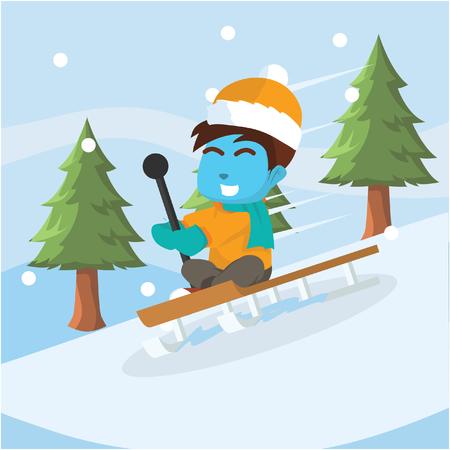 Blue boy sliding with sled– stock illustration Illustration