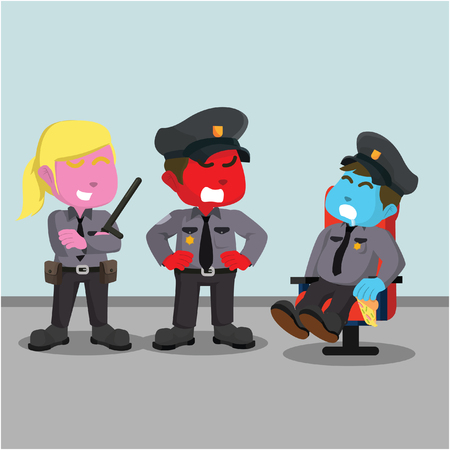 Police officer angry to sleeping fat police– stock illustration Ilustração
