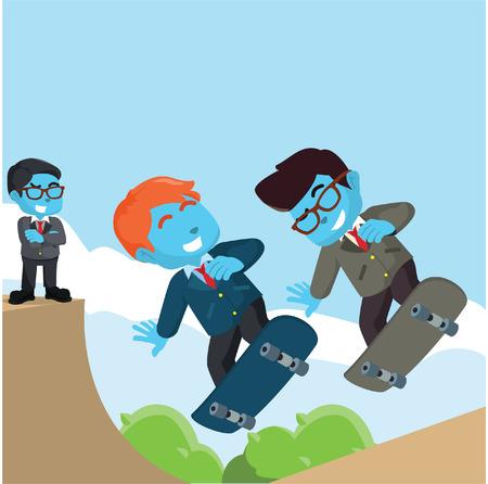 Businessmen playing skateboard illustration– stock illustration