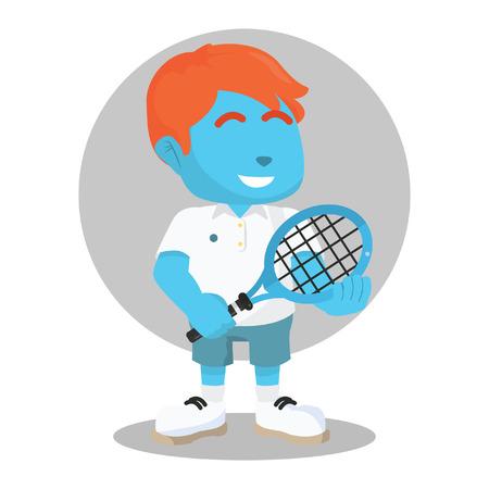 Blauwe tennisser poseà ¢ â?¬â ? ? stockillustratie Stock Illustratie