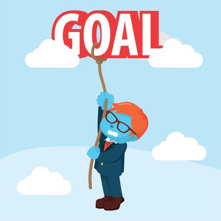 青いビジネスマンがゴールを登ろうとしている」ストックイラスト