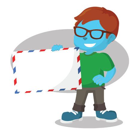 Blue boy holding giant envelope– stock illustration Ilustração