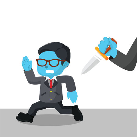 Blue businessman run from hand with knife– stock illustration