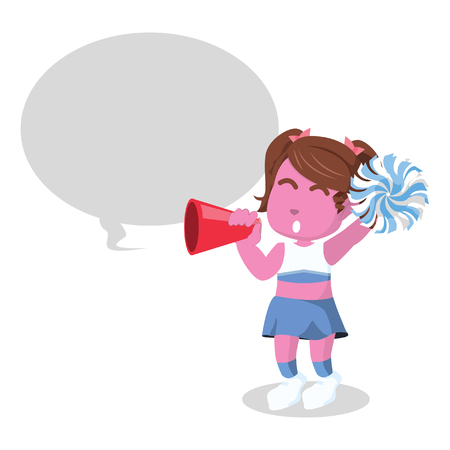 Pink cheerleader cheering with megaphone