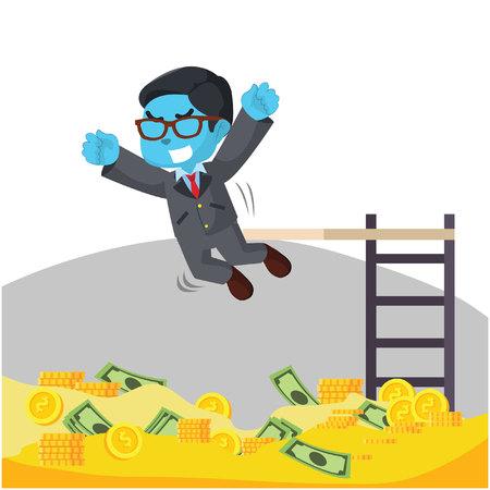 Homme d'affaires bleu sautant vers le bassin de pièces de monnaie - illustration vectorielle Banque d'images - 93259008