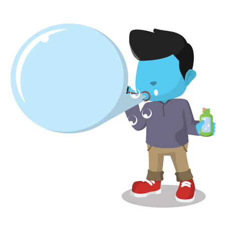 Blue boy blowing text bubble stock illustration