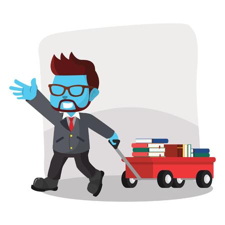 Blue businessman pulling a cart full of books– stock illustration