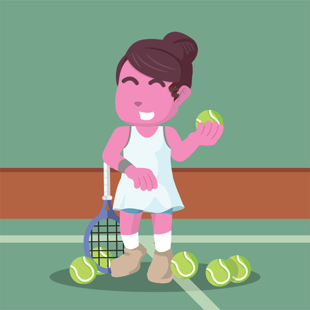 Pink female tennis player in training– stock illustration