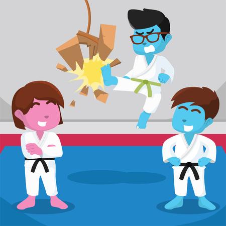 Green belt boy kicking board– stock illustration