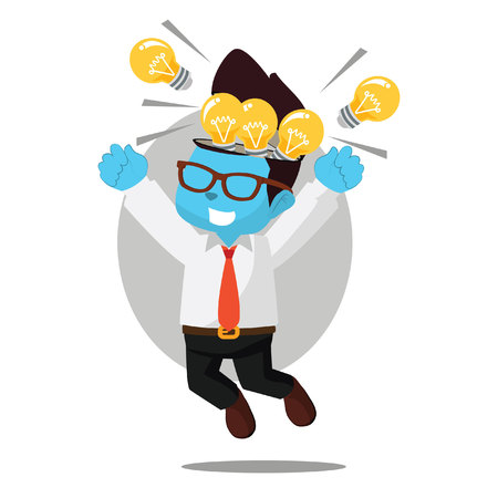 Businessman happy because full of bulb– stock illustration Illusztráció
