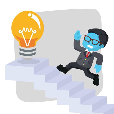 Blue businessman running on stairs– stock illustration