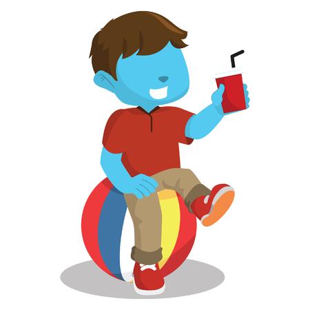 Blue boy sitting on ball– stock illustration