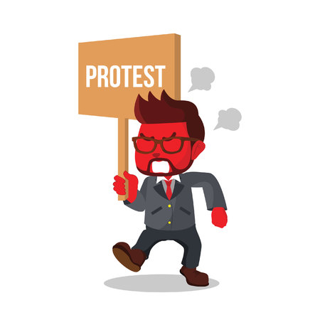 Red businessman holding sign protest– stock illustration