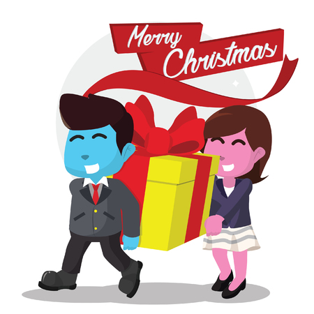 Business people carrying big christmas present– stock illustration