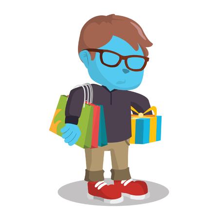 買い物袋とギフトベクトルイラストを運ぶ青い少年  イラスト・ベクター素材