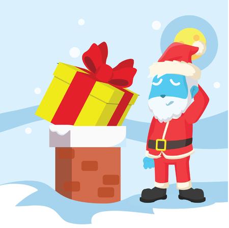 Blue santa christmas presents cant go into chimney– stock illustration Ilustracja