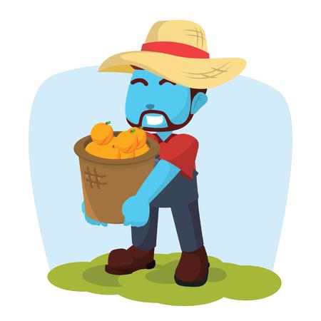 Blue farmer carrying a basket of orange stock illustration. Illustration