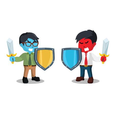 """剣と shield†と戦う実業家""""在庫ありイラスト"""