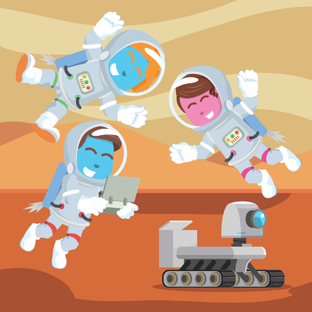 Group of astronaut controlling rover– stock illustration