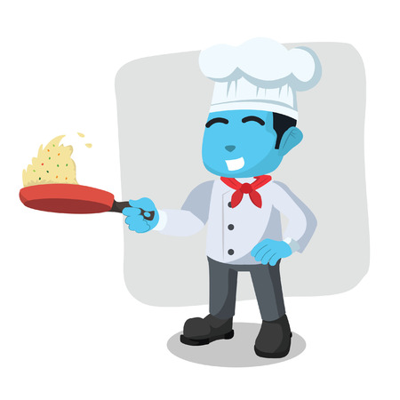 Blue chef cooking fried rice in stock illustration.