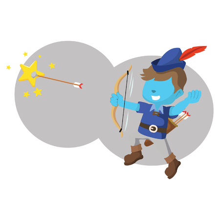Blue boy shooting star with arrow– Illustration