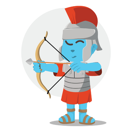 Blue roman soldier with bow– stock illustration