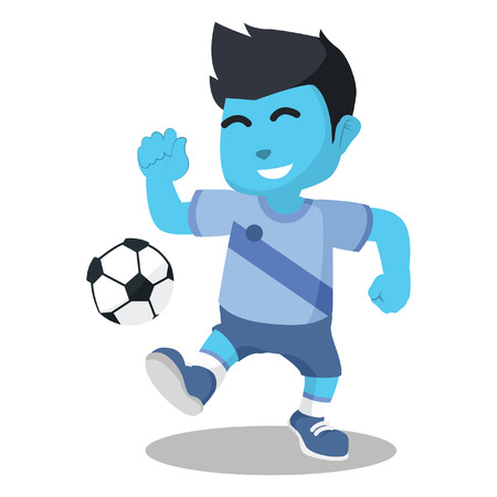 Blue soccer player running with ball– stock illustration