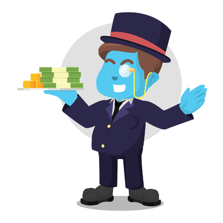 Blue fat rich man holding stack of money in stock illustration.