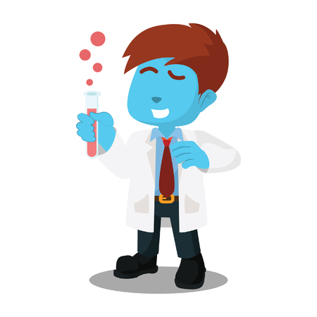 Blue scientists hold serum– stock illustration
