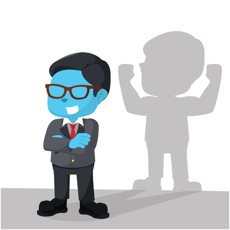 Blue businessman with strong shadow illustration Illustration