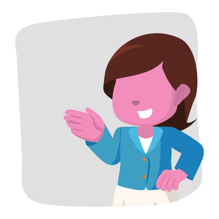 Pink business woman greeting– stock illustration