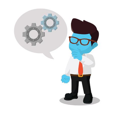 Blauwe zakenman met versnelling