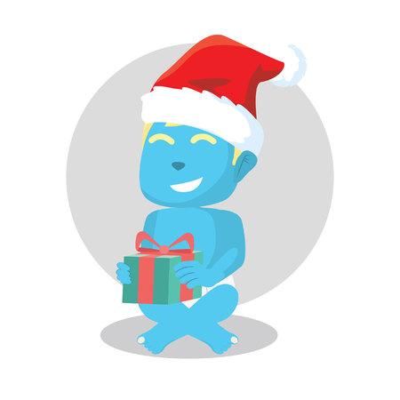 Blue baby got a christmas gift– stock illustration