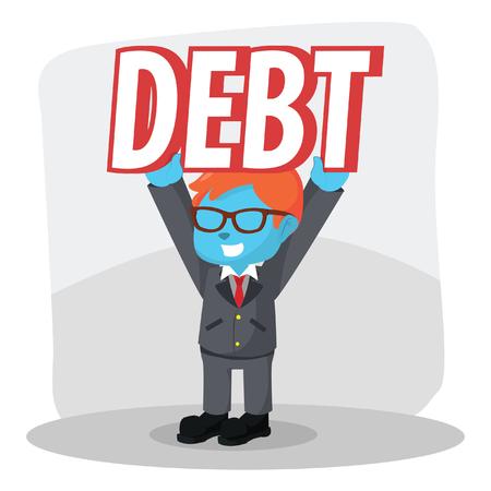 Blue businessman lifting debt easily– stock illustration Çizim