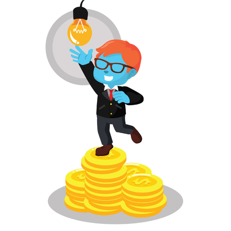 Blue businessman on coin stack stock illustration.