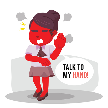Angry red female with callout talk to my hand in stock illustration.