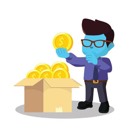 Homme d'affaires bleu choisir une bonne pièce de monnaie - illustration Banque d'images - 93259753
